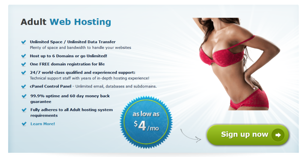 screenshot of arvixe adult web hosting