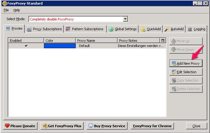 Add a new Proxy in FoxyProxy