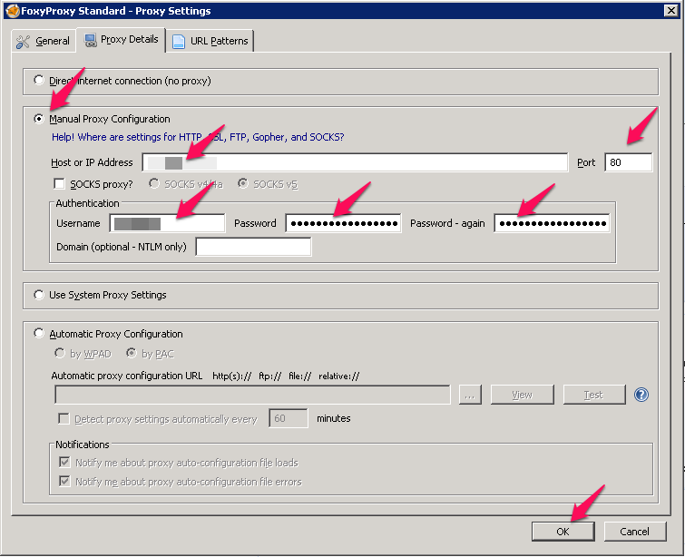 Configure FoxyProxy