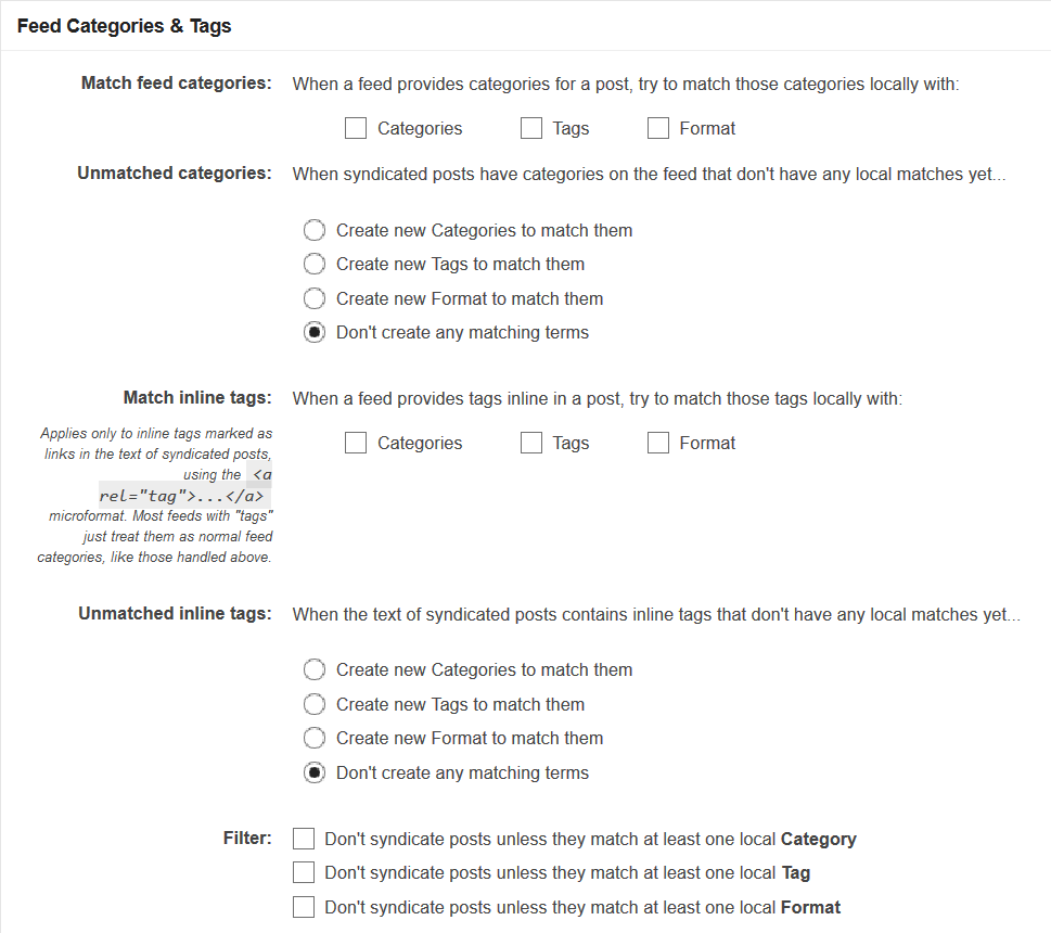 Syndication Feed Categories and Tags