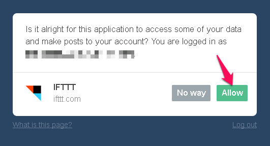 authorize ifttt to use tumblr
