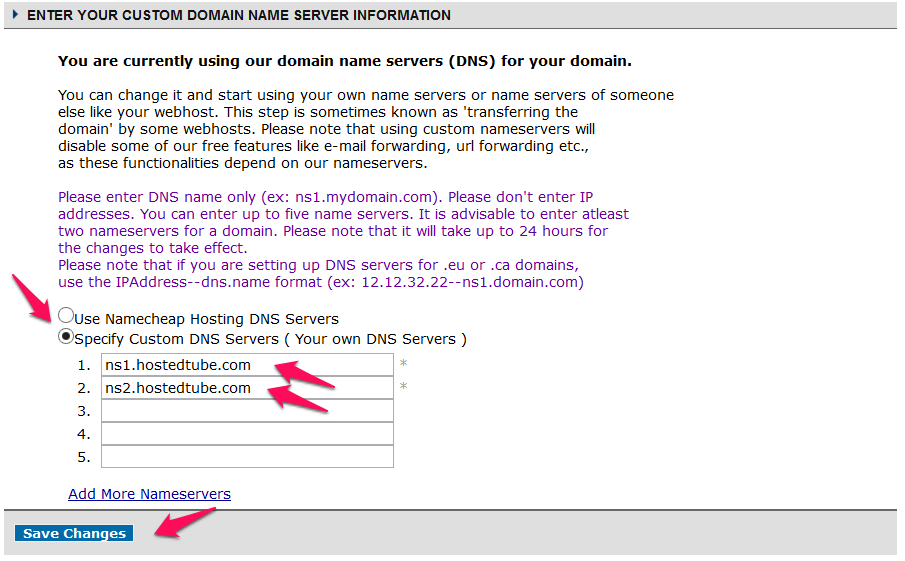 The correct namecheap dns setup