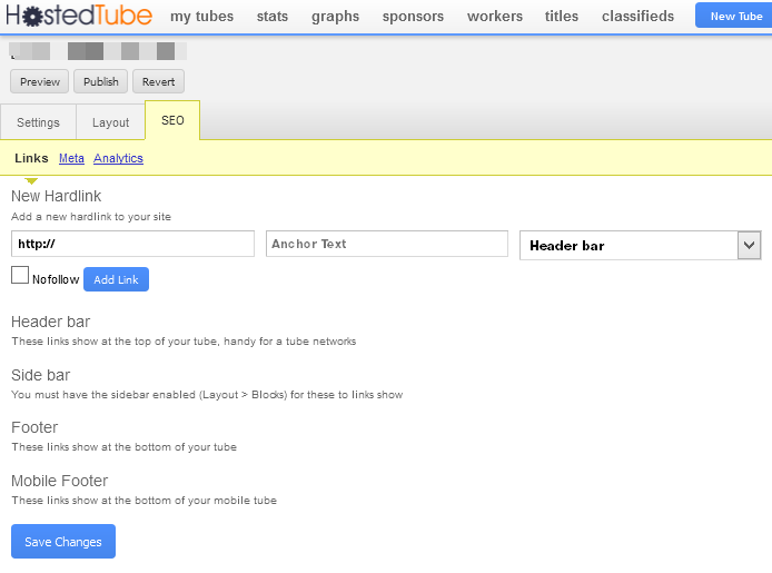 set up the SEO settings of your hostedtube