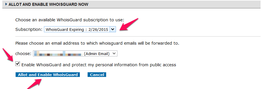 Set Up Your WhoisGuard Subscription