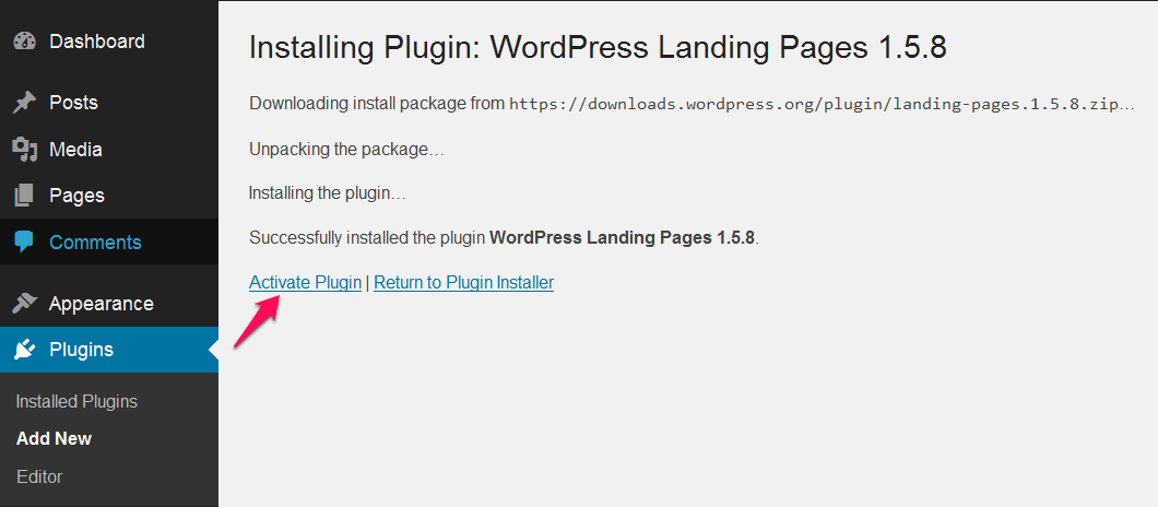 Activate WordPress Landing Pages