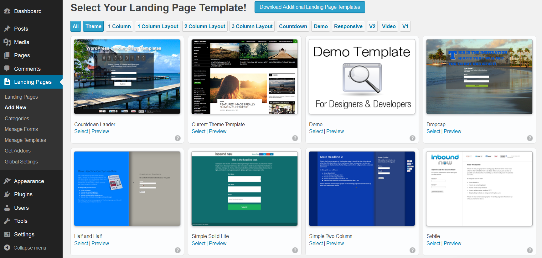Overview of landing page templates