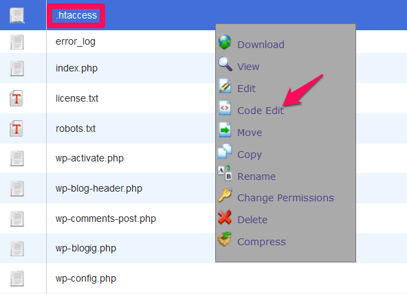 Edit your .htaccess file through