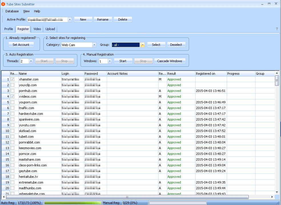 Tube Sites Submitter Register Settings