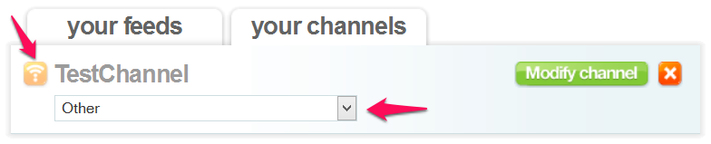 choose export option for your feed rinse channel