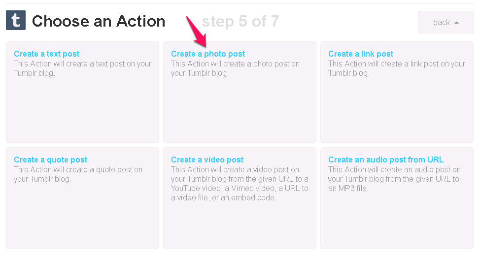 Create a photo post at IFTTT