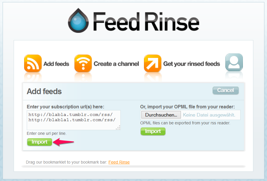 import rss feeds into feed rinse