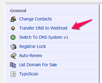 Transfer DNS to Webhost