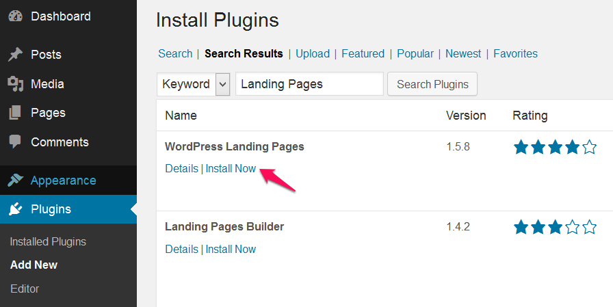 Install the PlugIn WordPress Landing Pages