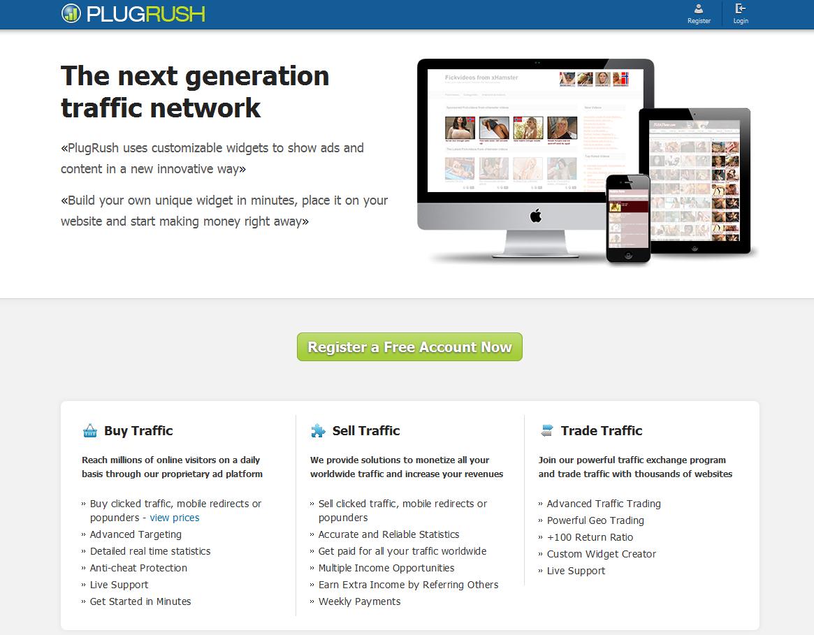 Screenshot of the PlugRush website
