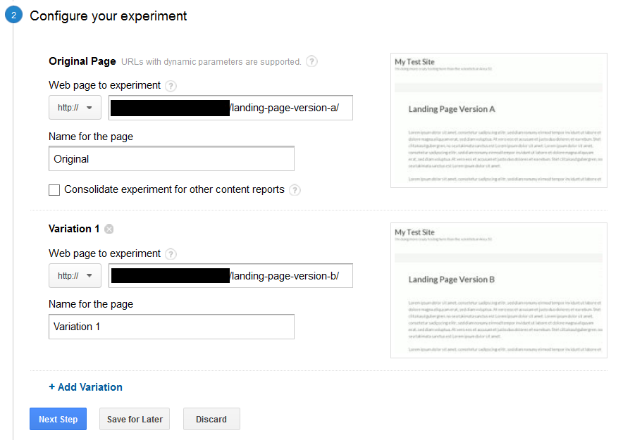 Add original and the variation(s) to Web Experiments