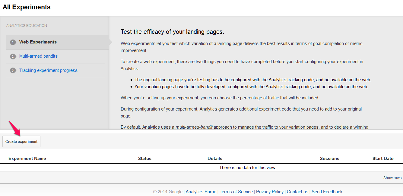 Create a new experiment in Google Analytics