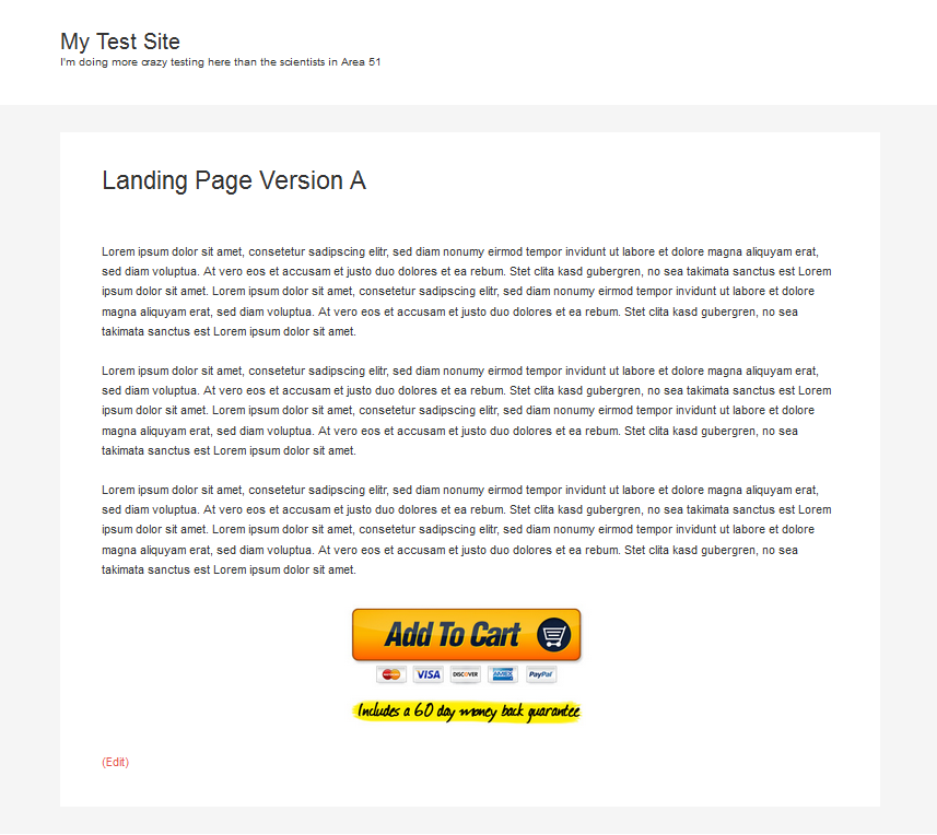 Example of landing page version A