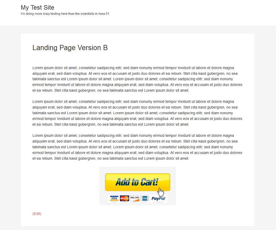 Example of landing page version B