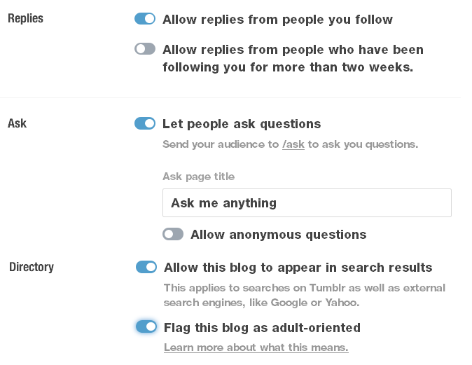 allow replies, questions, search engines and flag the blog as adult-oriented